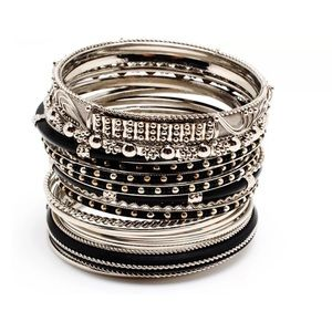 Amrita Singh 18 Piece Silver-Tone Bangle Bracelet